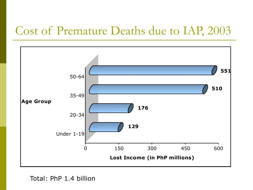 Cost of Premature Deaths due to IAP, 2003