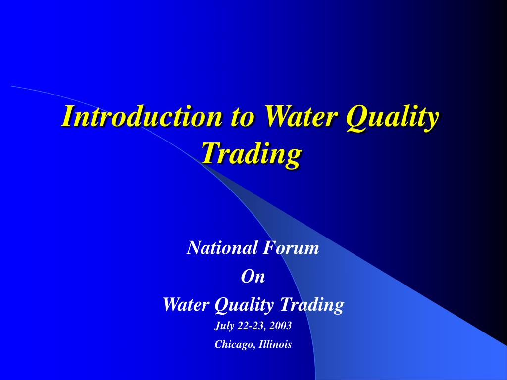 introduction to water quality trading l.