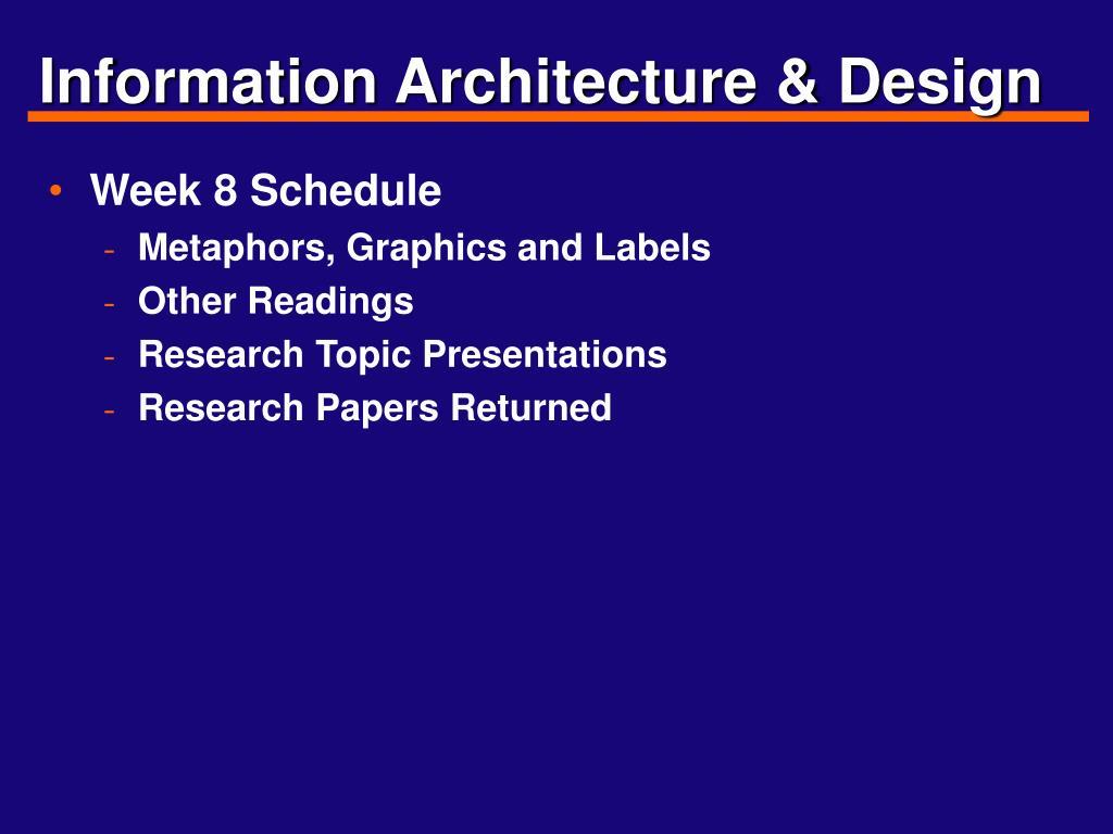 Information Architecture & Design