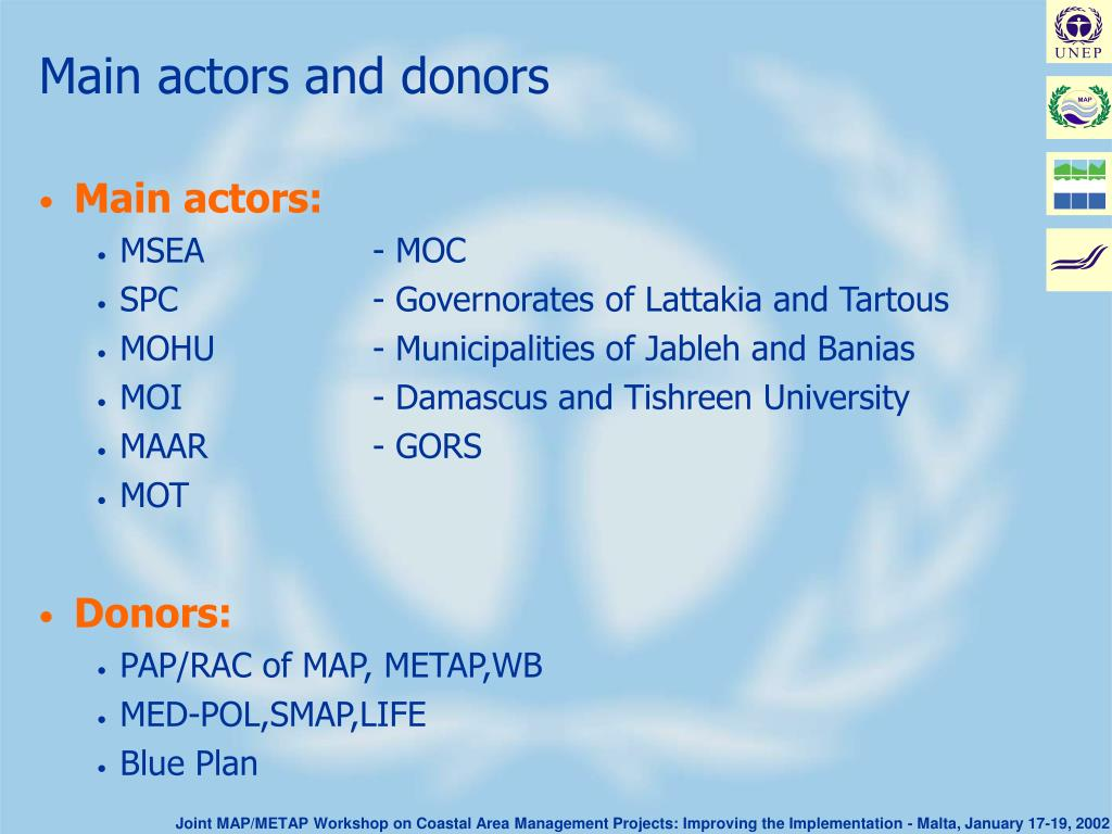 Main actors and donors