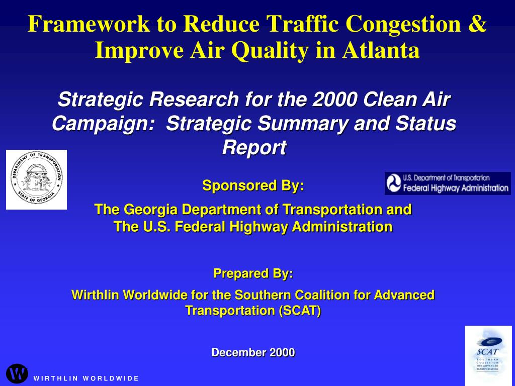 framework to reduce traffic congestion improve air quality in atlanta l.