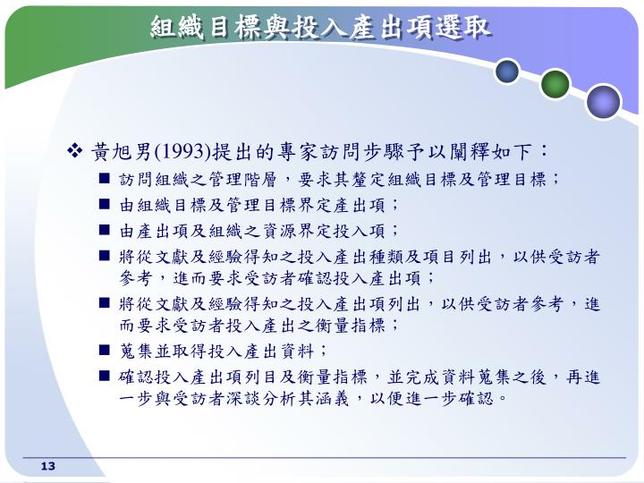 組織目標與投入產出項選取