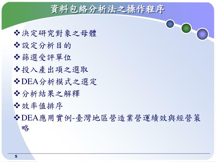 資料包絡分析法之操作程序