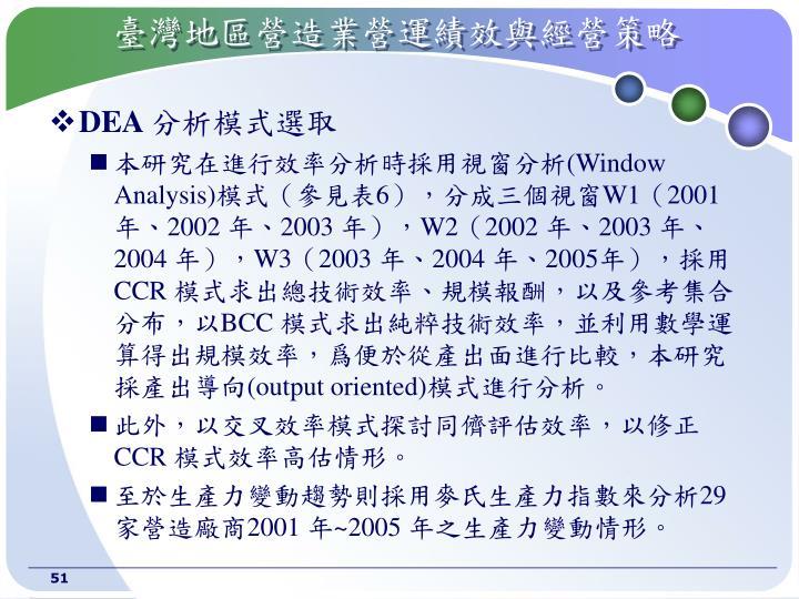 臺灣地區營造業營運績效與經營策略