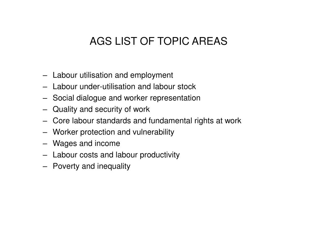 AGS LIST OF TOPIC AREAS