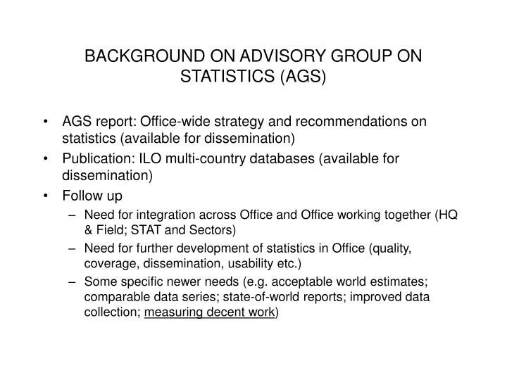 Background on advisory group on statistics ags