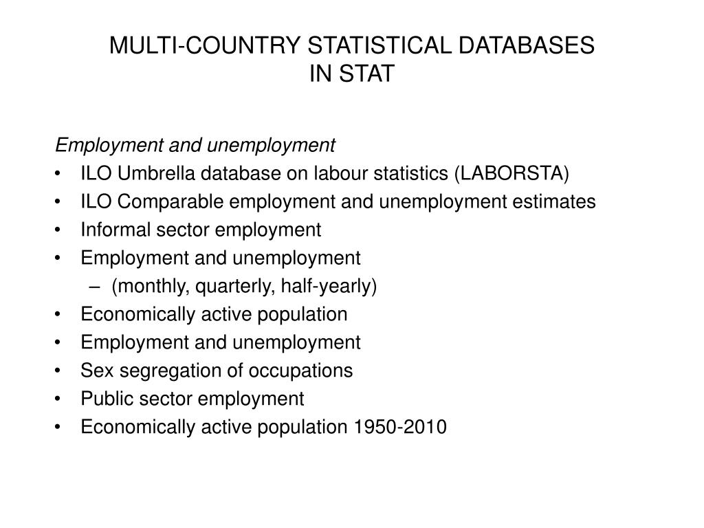 MULTI-COUNTRY STATISTICAL DATABASES