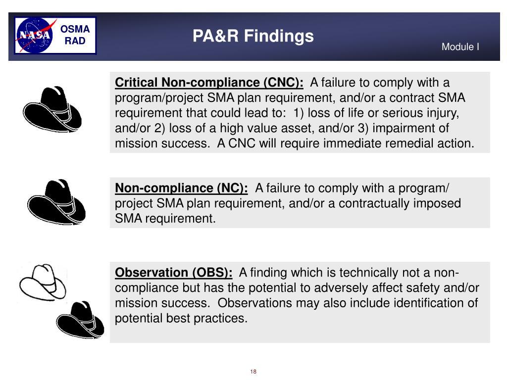 PA&R Findings