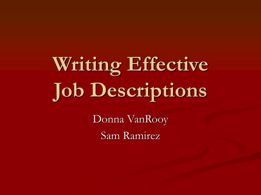 writing effective job descriptions l.