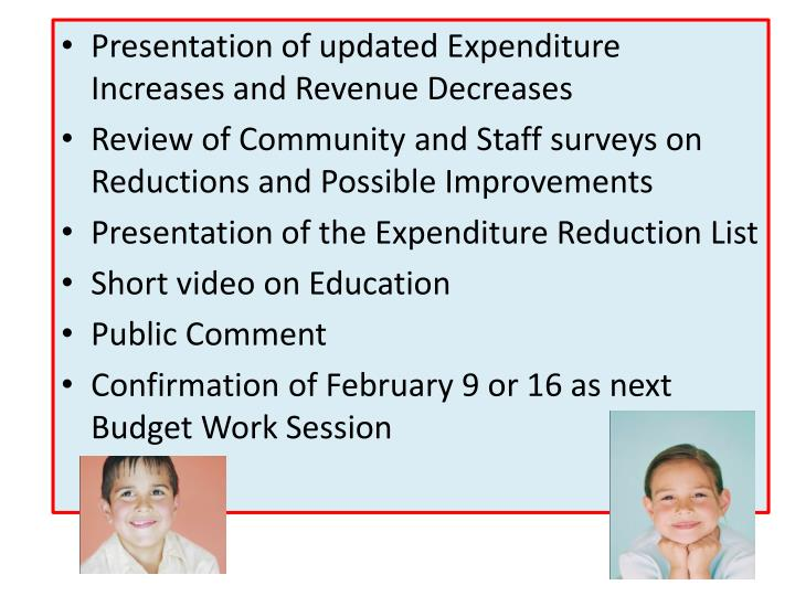 Presentation of updated Expenditure Increases and Revenue Decreases