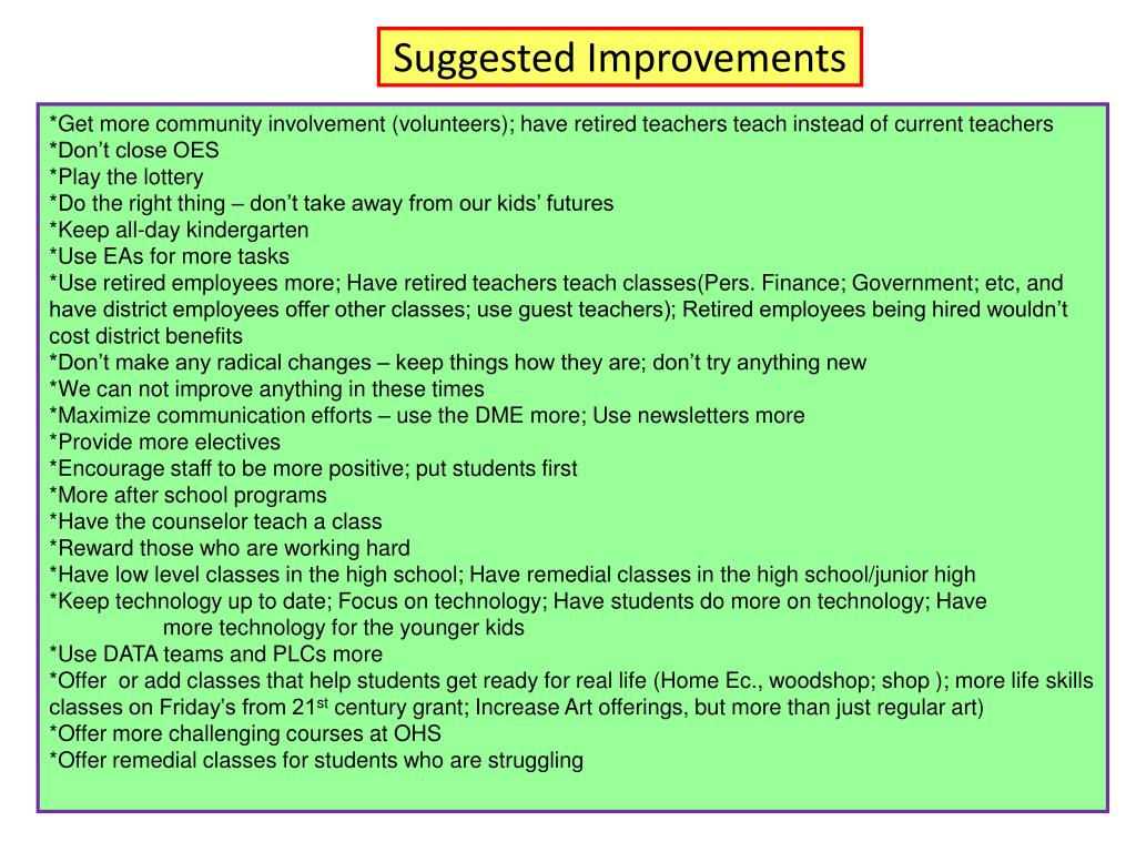Suggested Improvements