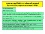 unknowns and additions to expenditures and decreased revenues since january 5 2011