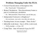 problems managing under the flsa