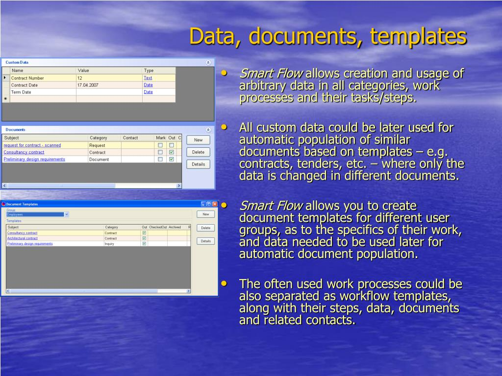 Data, documents, templates
