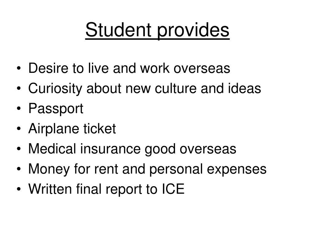 Student provides