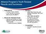 alliance program s youth related results and successes