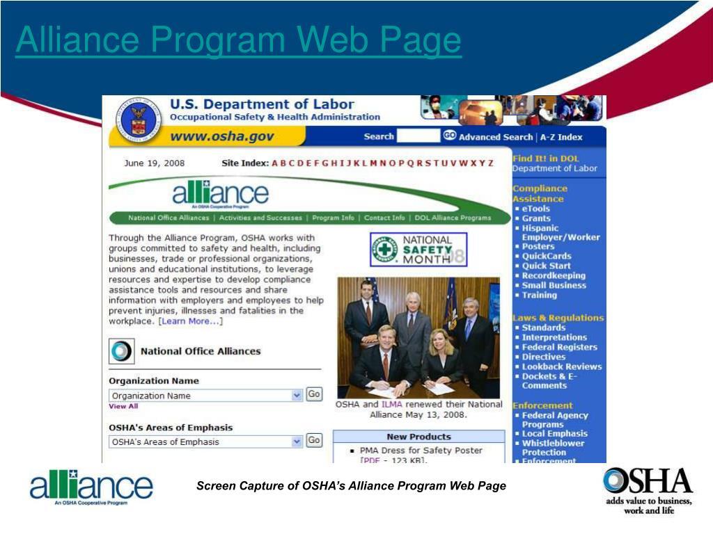 Alliance Program Web Page