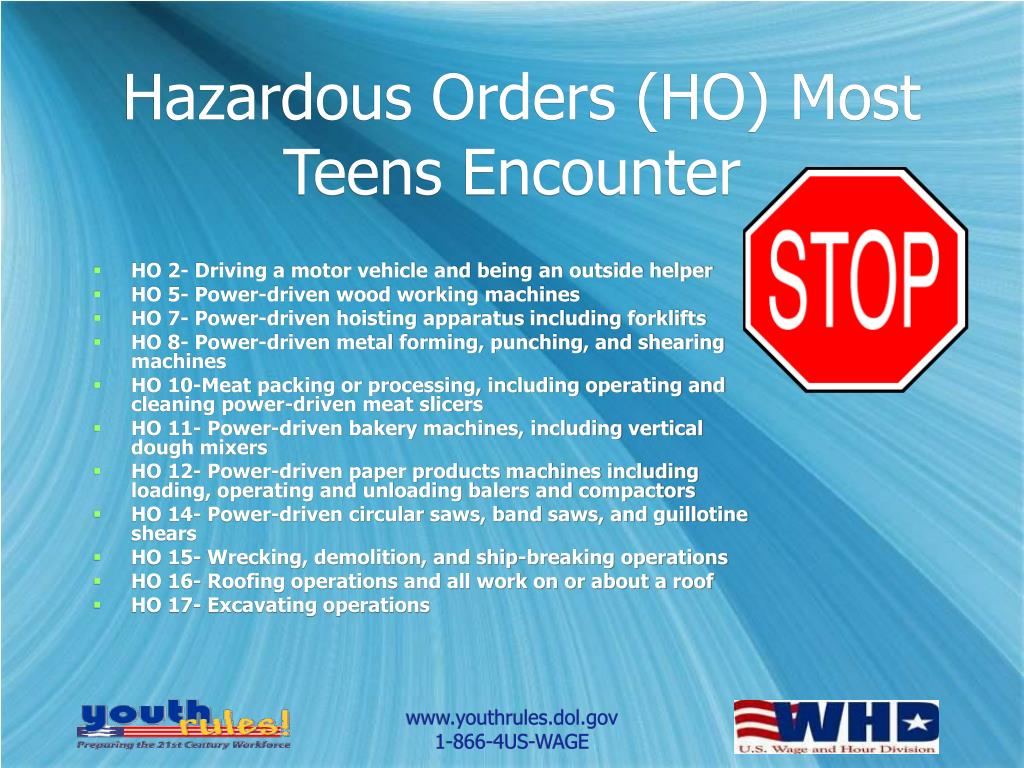 Hazardous Orders (HO) Most Teens Encounter