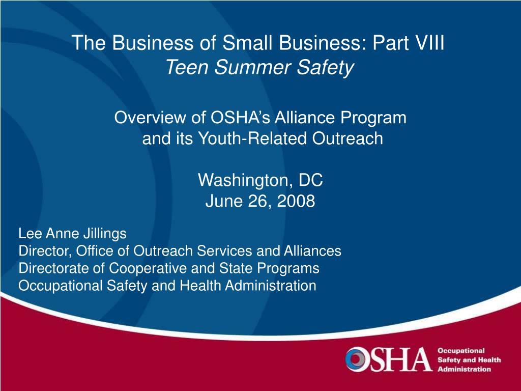Overview of OSHA's Alliance Program