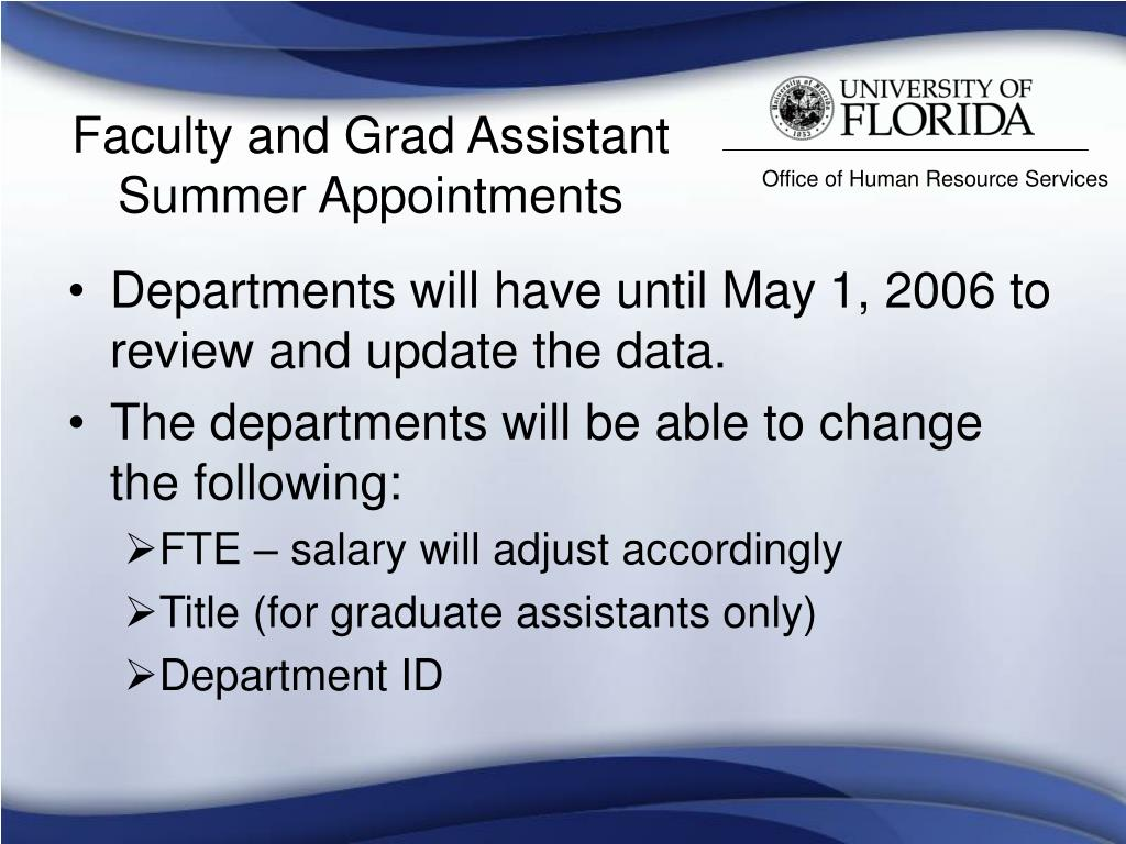 Faculty and Grad Assistant Summer Appointments