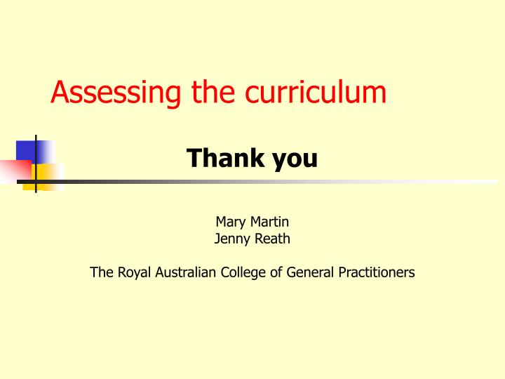 Assessing the curriculum