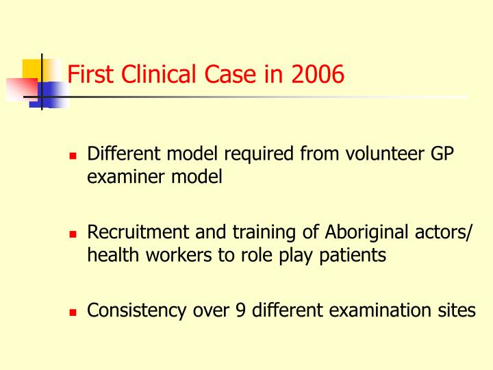 First Clinical Case in 2006
