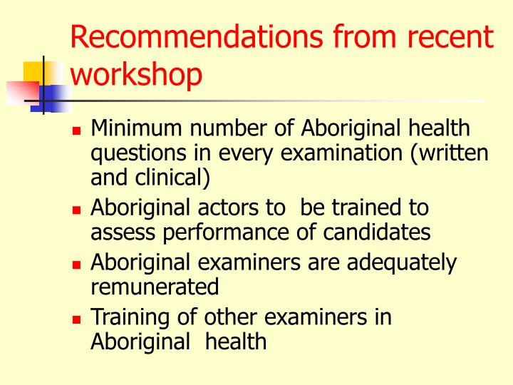 Recommendations from recent workshop