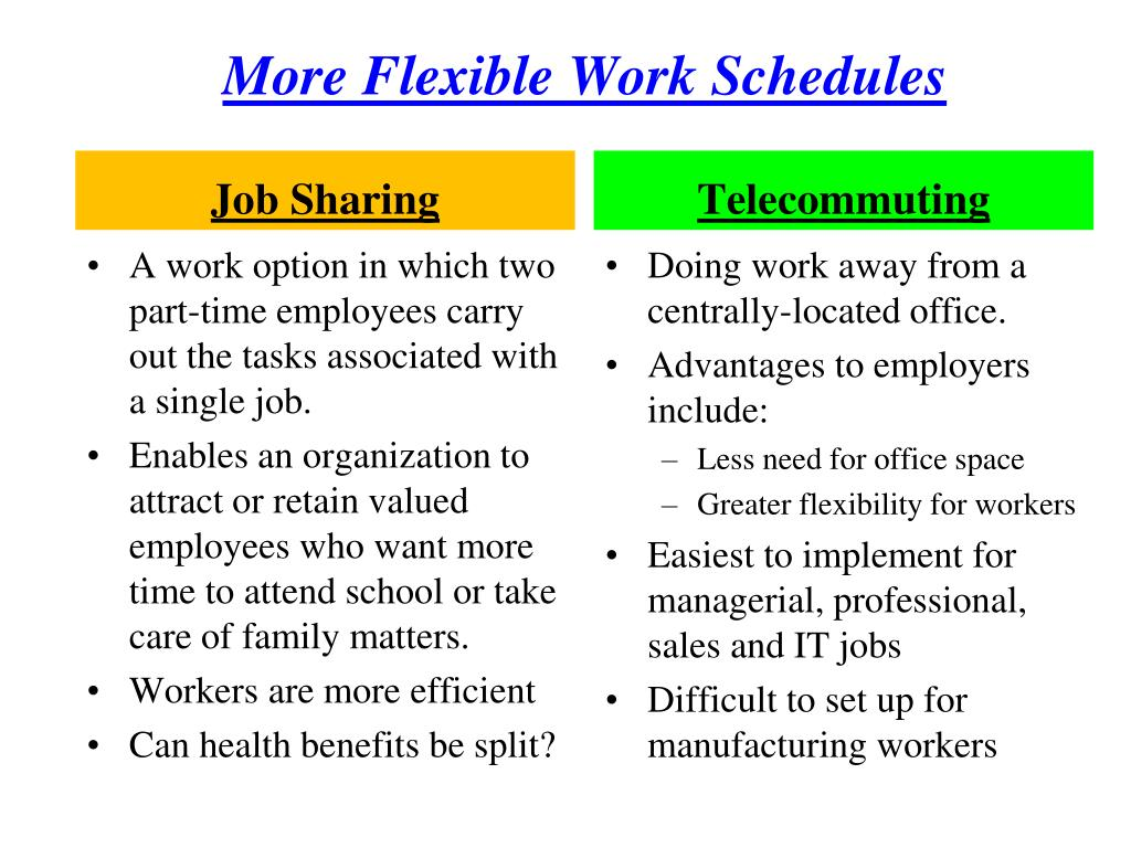 More Flexible Work Schedules
