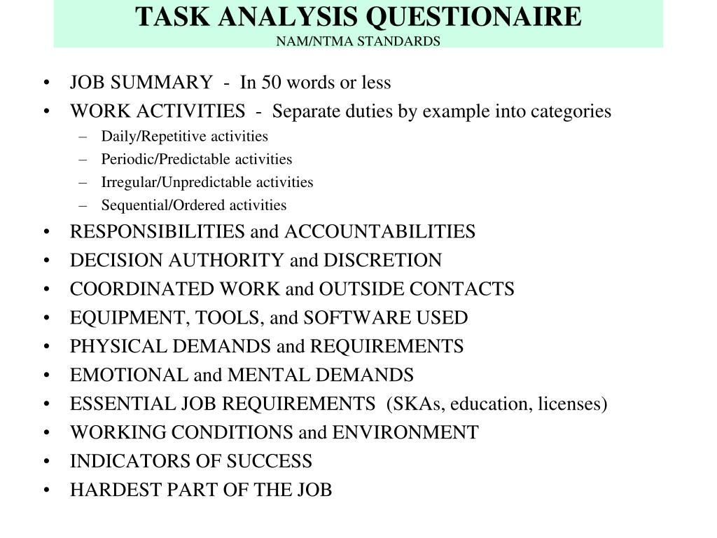 TASK ANALYSIS QUESTIONAIRE