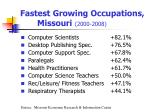 fastest growing occupations missouri 2000 2008