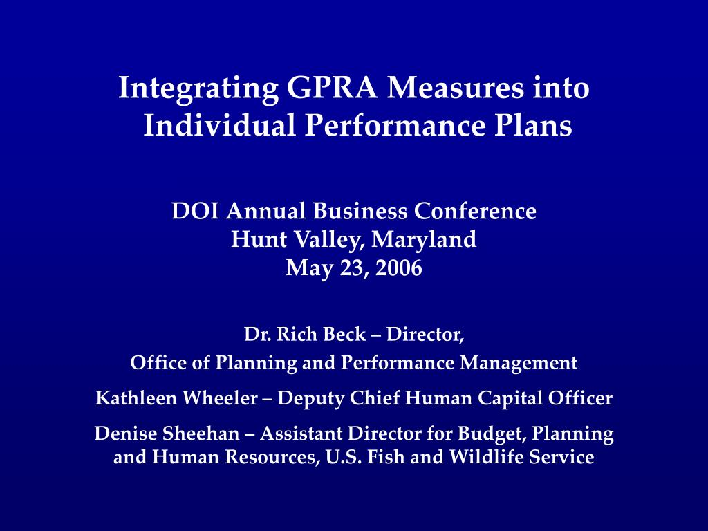 integrating gpra measures into individual performance plans l.