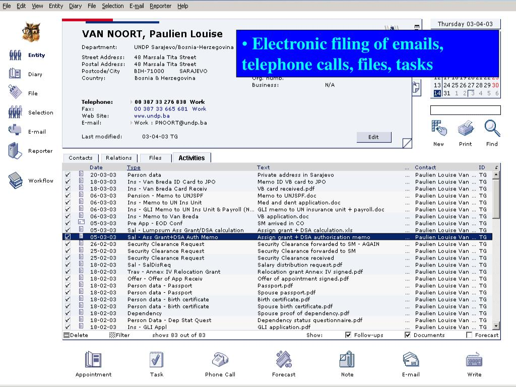 Electronic filing of emails, telephone calls, files, tasks