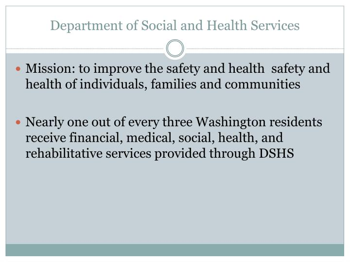 Department of social and health services