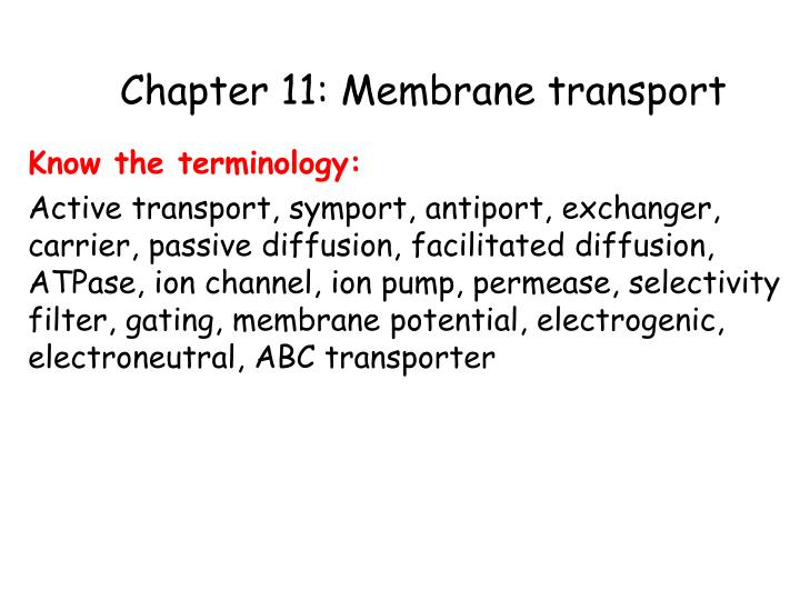 chapter 11 membrane transport n.