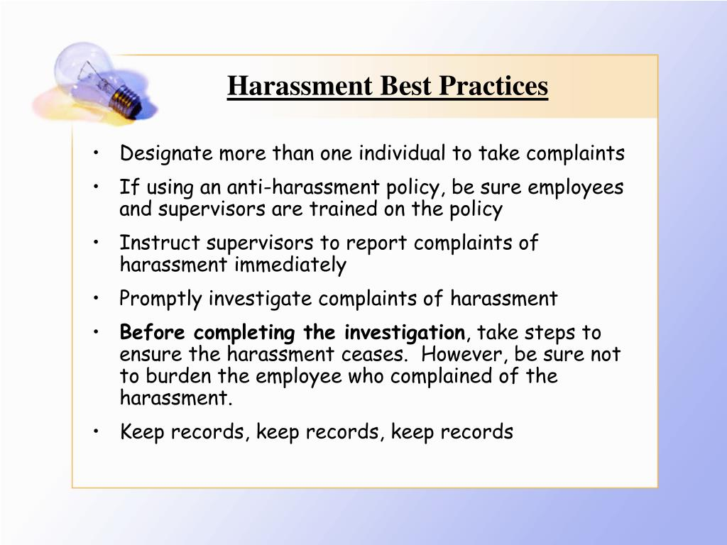 Harassment Best Practices