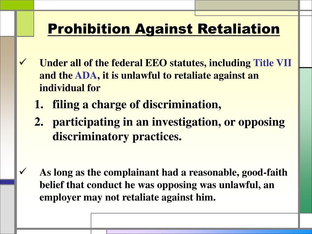 Prohibition Against Retaliation
