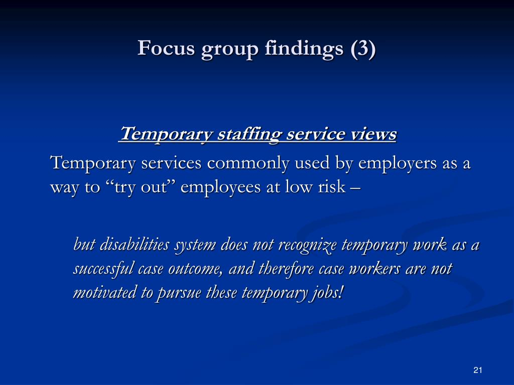 Focus group findings (3)