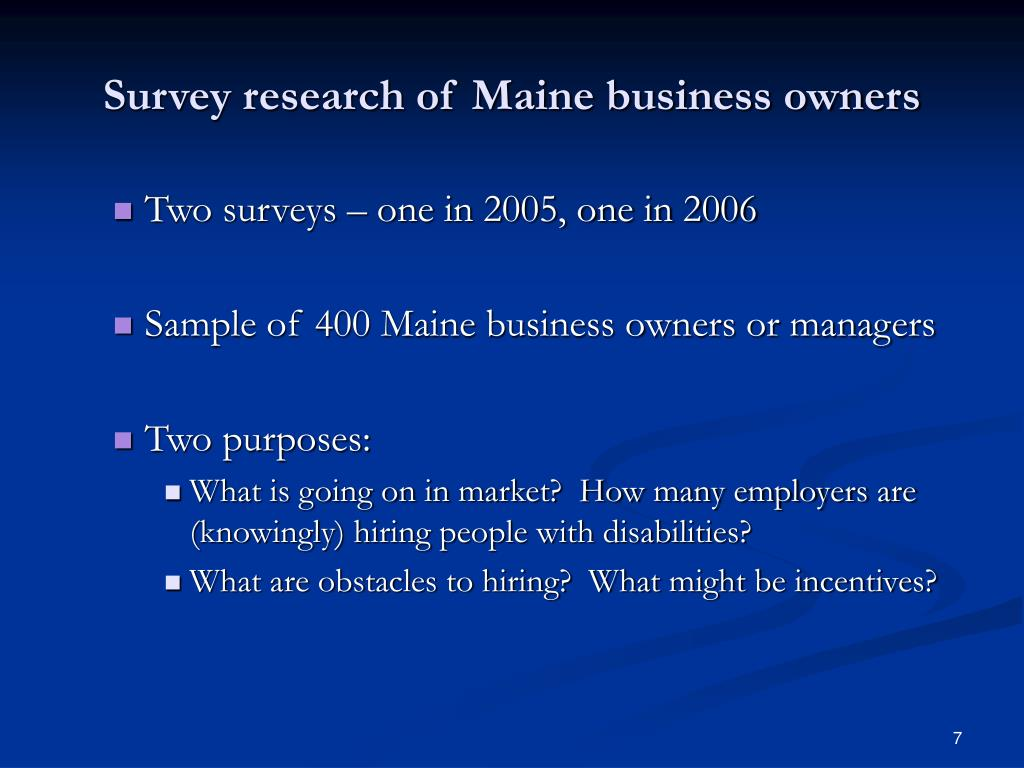 Survey research of Maine business owners