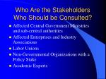 who are the stakeholders who should be consulted