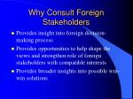 why consult foreign stakeholders