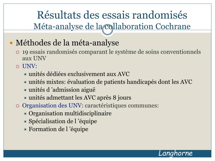 Résultats des essais randomisés