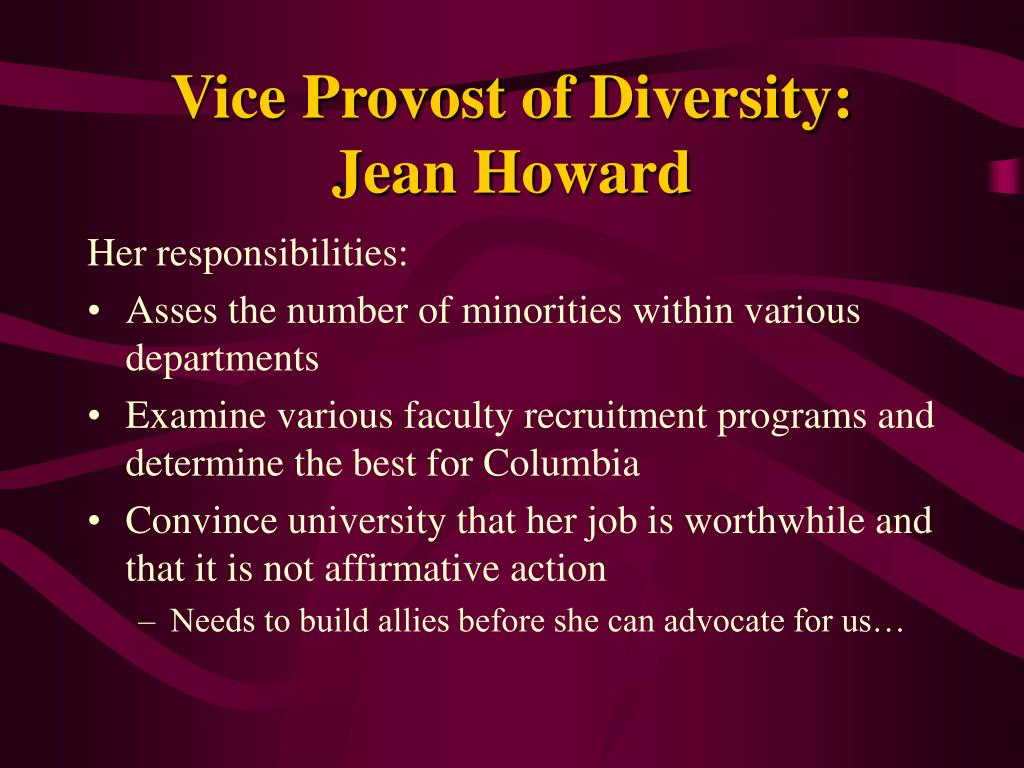 Vice Provost of Diversity: