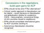 concessions in the negotiations build upon gains for acp