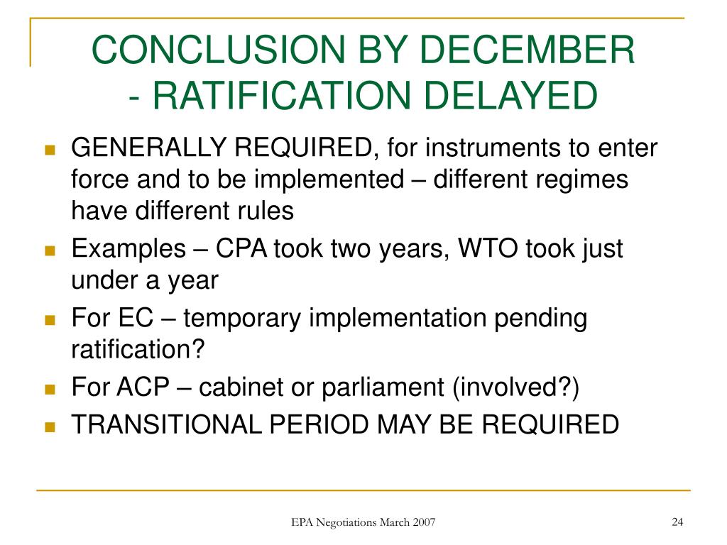 CONCLUSION BY DECEMBER