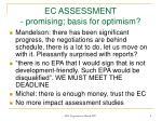 ec assessment promising basis for optimism