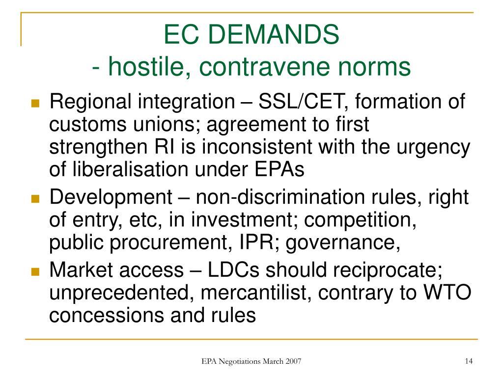 EC DEMANDS