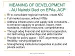 meaning of development au nairobi decl on epas acp