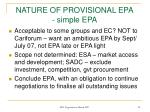 nature of provisional epa simple epa