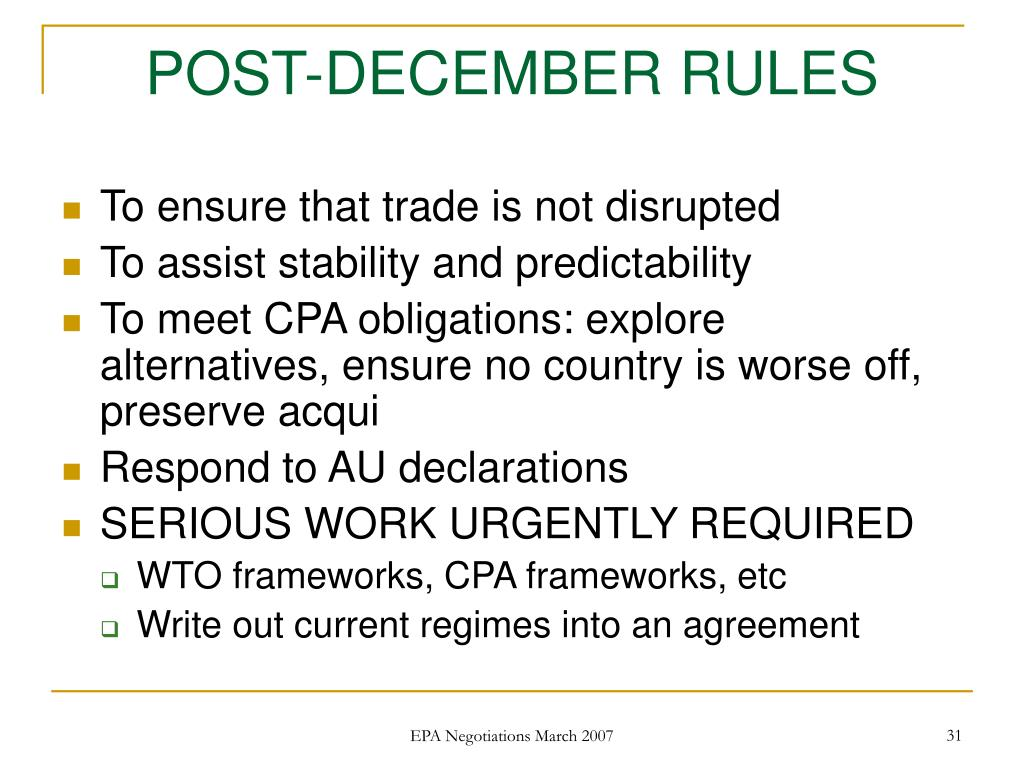 POST-DECEMBER RULES