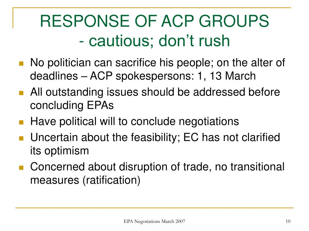RESPONSE OF ACP GROUPS